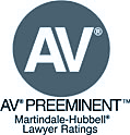 AV Preeminent Martindale-Hubble lawyer ratings